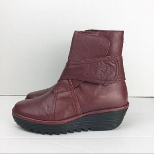 Fly London burgundy wedge leather ankle boots